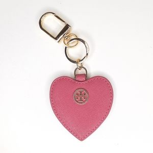 Tory Burch Pink Leather Heart Keychain